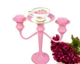 Candelabra, tea cup candelabra, shabby chic candleholder, wedding candelabra
