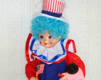 Clown Doll Brinn's 1986 July Calendar Clown Doll Vintage 4th of July, Uncle Sam's Birthday Collectible.  Red White Blue