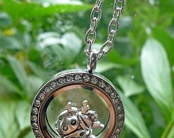 Window Locket - Floating LadyBug with Crystals - Reversible, can be worn with bling or not..