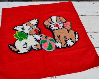 Playing Puppies Felt Pillow Cover Punch Needle Embroidery Vintage Handmade Red White Brown Pink Dogs Ball 1950's