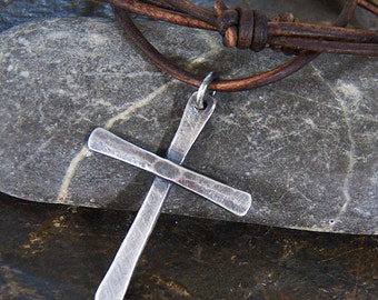 Sterling Silver Rustic Cross - Hammered Artisan Pendant - Handcrafted - Handmade - Leather Cord