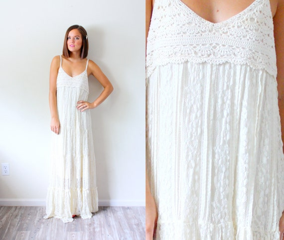 Vintage Boho Wedding dress // boho crochet // shabby chic // floor ...