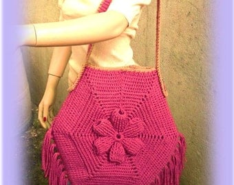 INSTANT DOWNLOAD Embossed Flower and Fringes BOHEMIAN Tote Bag - Vintage Style - Crochet Pattern