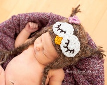 Baby Girl Owl Hat--Comes with Flower Clip--Soft & Fuzzy Crochet  Newborn Photo Prop or Halloween Costume
