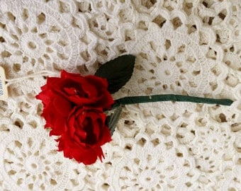 Vintage 1950s Silk Millinery Flower, Red Roses, New Old Stock