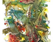 Koi fish watercolor painting of goldfish- fine art print