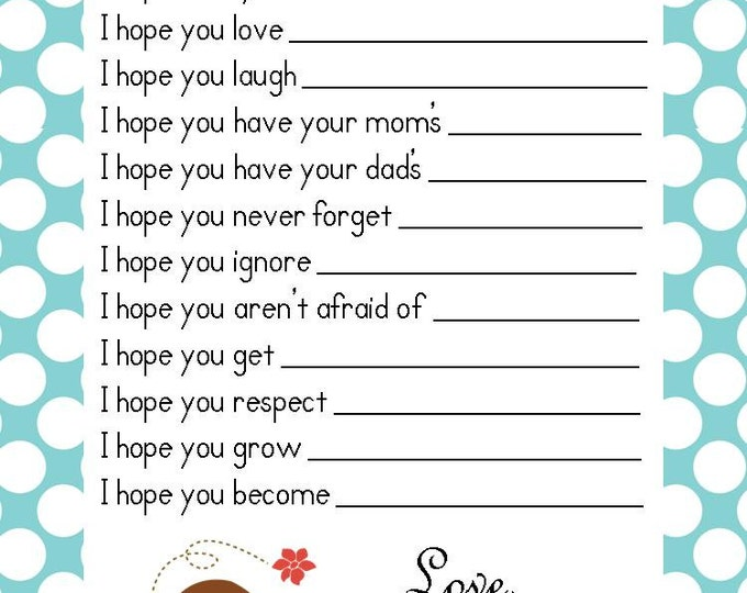 SALE Boy Baby Shower Game Well Wishes Advice Cards ~ Instant Download Printable PDF ~ Baby Bird Blue Polka Dot Design Sulugifts