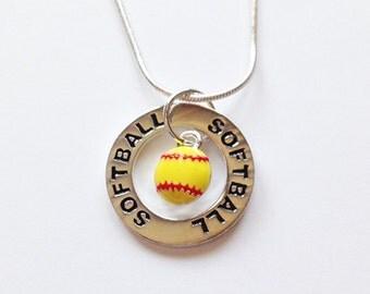 Softball Necklace:  Silver Softball Charm Necklace