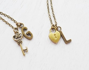 key to my heart, lock and key couples necklace, skeleton key, love jewelry, key necklace, couple gift, romantic jewelry, personalized gift