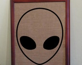 Space Alien Galaxy Screen Printed Burlap for Home Decor 10 x 14