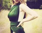 Large Bathing Suit Hunter Green Wrap Around Swimsuit Unique Swimsuit for Women, Teens and Maternity