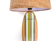Classic Stripe Surfboard Lamp with Cork Shade Accent Lamp or Table Lamp