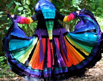 Items similar to Upcycled Katwise Style Rainbow Multicolored Elf