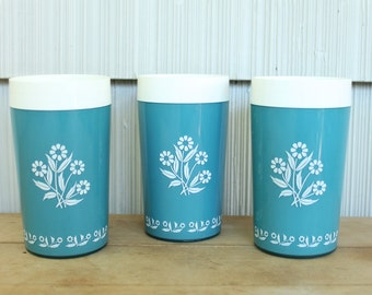 Teal Daisy Print Insulated Tumblers 3