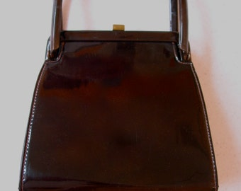 Fabulous Vintage MEYERS purse hand bag in brown patent leather