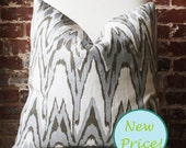 "Silver and Bronze Ikat - Hand Print on Natural Linen - Pillow Cover - 20""x20"""