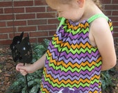 Halloween Pillowcase Dress, Girly Ghost Dress, Purple, Orange, Green and Black Chevron, Fall Dress, Size 2T to 14