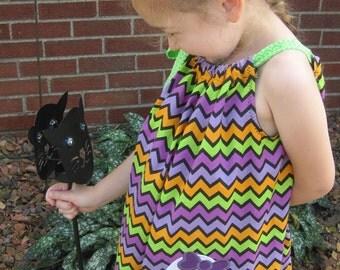 Halloween Pillowcase Dress, Girly Ghost Dress, Purple, Orange, Green and Black Chevron, Fall Dress, Size 2T to 14