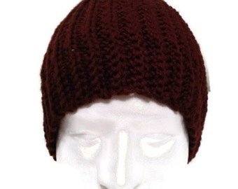 Crochet Brown Beanie, Crochet hat for men,  Winter Hat crochet hat for him Ready to ship
