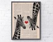 Giraffes in love  Red heart  vintage book print Printed on Vintage Book sheet - Nursery wall art BPAN012b