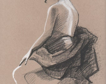 Draped Nude #3 - Original Charcoal Pencil Drawing from Life Model