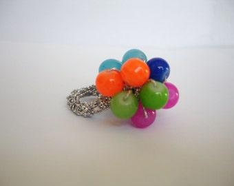Bright Glass Bead Crochet Ring