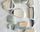 Sea Pottery, Nautical Stripes, Blue and White, Old Ceramic, Textured, Large Medium Sized, Pendant, Jewelry Grade A, Supplies