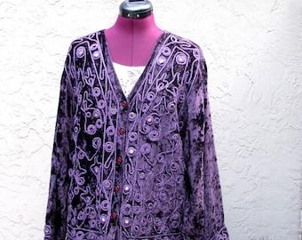 Vintage Bohemian Embroidered Beaded Purple Velvet Jacket