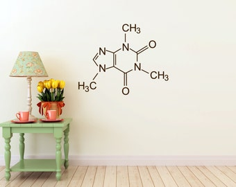 Caffeine Compound Molecule Vinyl Wall  DECAL- coffee shop, home and business decor