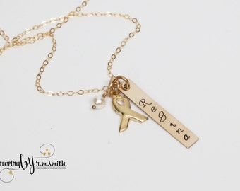 Personalized Gold Cancer Necklace - Cancer Ribbon Awareness - Mom - Grandma -  Friend - Support Team - Custom Necklace - Name Necklace