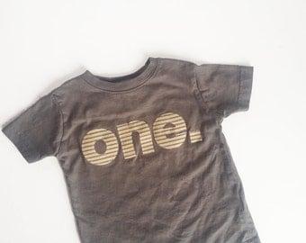 First Birthday Grey Khaki T-Shirt - One Uno Eins Um