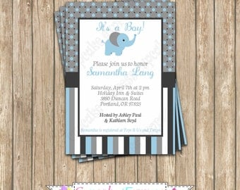 DIY  Elephant Baby Shower Party  PRINTABLE Invitation 5x7 its a boy  blue grey charcoal  -cupcake express 1040