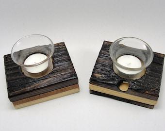 upcycled wood votive holders burnt finish, set of 2