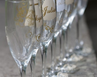 10 Bridesmaid dress champagne flutes glasses, name over the dress with title and date on the base, your choice of colors Maid of honor gifts