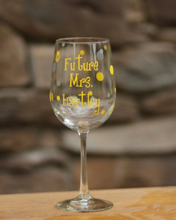 Personalized Future Mrs. wine glass, bridal wedding glass with polka dots.  Yellow and gray wedding gift idea.  Bride glass