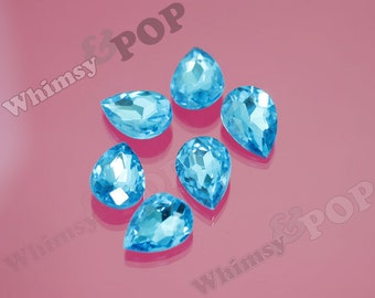 Cerulean Blue Glass Tear Drop Loose Rhinestones, Multi-Faceted Rhinestones, Tear Drop Rhinestone, 14mm x 10mm x 5mm (R8-046)