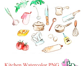Watercolor Kitchen Cuisine Clipart, Art Supplies Illustration PNG file tableware, Digital Watercolor Cookware Food Vegetables image Clip Art