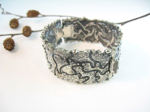 Modernist Bracelet Signed Darvéau French Canadian Jewelry Cast Abstract Hinged Bangle Vintage 1960s