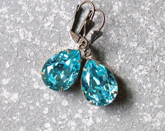 Light Turquoise Earrings Swarovski Crystal Earrings Blue GreenTear Drop Dangle Rhinestone Earrings Duchess Pear Mashugana