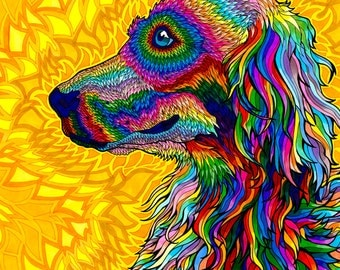 Wizardelic Print (Psychedelic Spiritual Golden Doodle Dog Trippy Rainbow Colorful Vibrant Multicolored Drawing in Copic Marker)