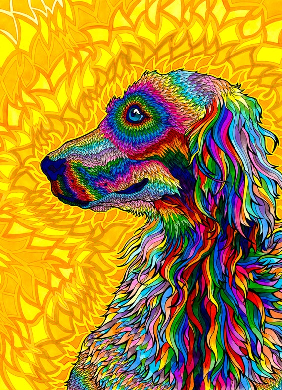 Wizardelic Print Psychedelic Spiritual Golden Doodle Dog