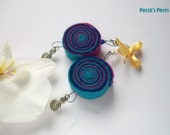 Navy Blue Purple Turquoise Felt Earrings With Beads and Metal Ornaments OOAK