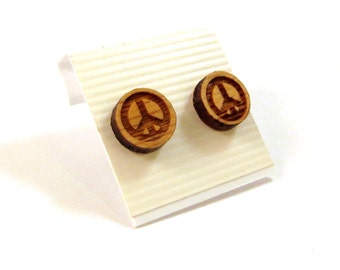 Peace Sign Oak Wooden Post Earrings - Small - Sustainable Wood Ear Studs