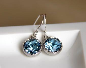 Blue Swarovski Earrings - Sparkly Crystal Earrings - Gifts for Her