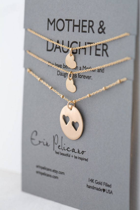 Gift For Mom On Wedding Day: Mom Gift. Mother Two Daughter Necklace Set Gold. By