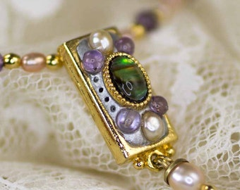 Michal Golan Abalone, Amethyst & Fresh Water Pearls Necklace with Dangle on Beaded Chain