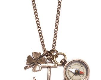 Anchor Necklace - Men's Necklace - Men's Jewelry - Anchor necklace with miniature compass and good luck four leaf clover - Men's Gifts