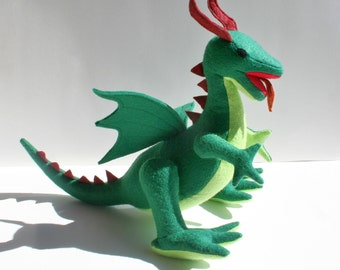 Classic Green Dragon Fantasy Plush ~ Stuffed Animal Toy, Handmade, Eco Friendly, Boys Gift, Dragon Plushie, Customizable Stuffed Dragon Toy