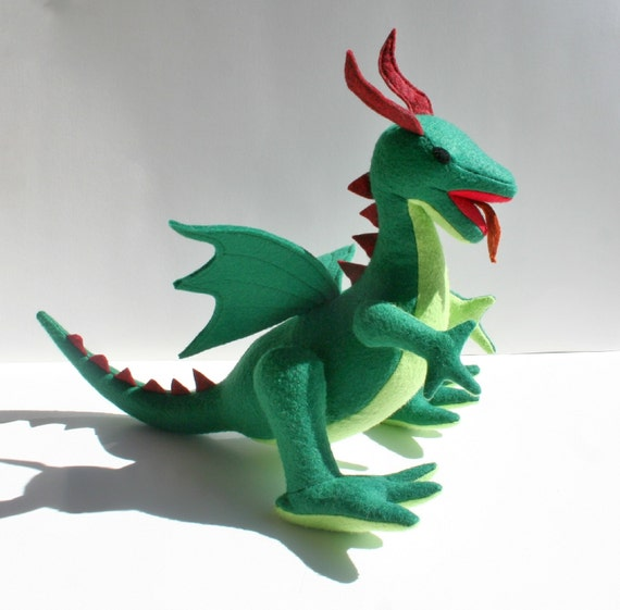 Classic Green Dragon, Fantasy Plush Dragon Stuffed Animal Toy, Handcrafted of Eco Felt, Fantasy, Kids, Eco Friendly, Boys Gift, Knight