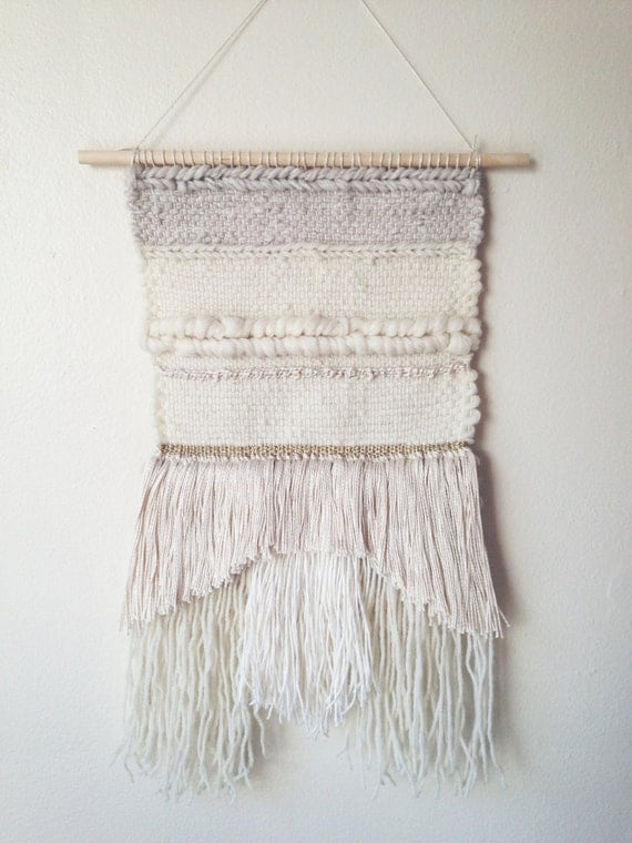 Woven Tapestry White Neutral Wall Hanging Modern Home Fringe